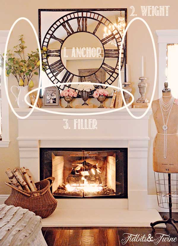 How to decorate a mantel tidbits twine for Decor over fireplace