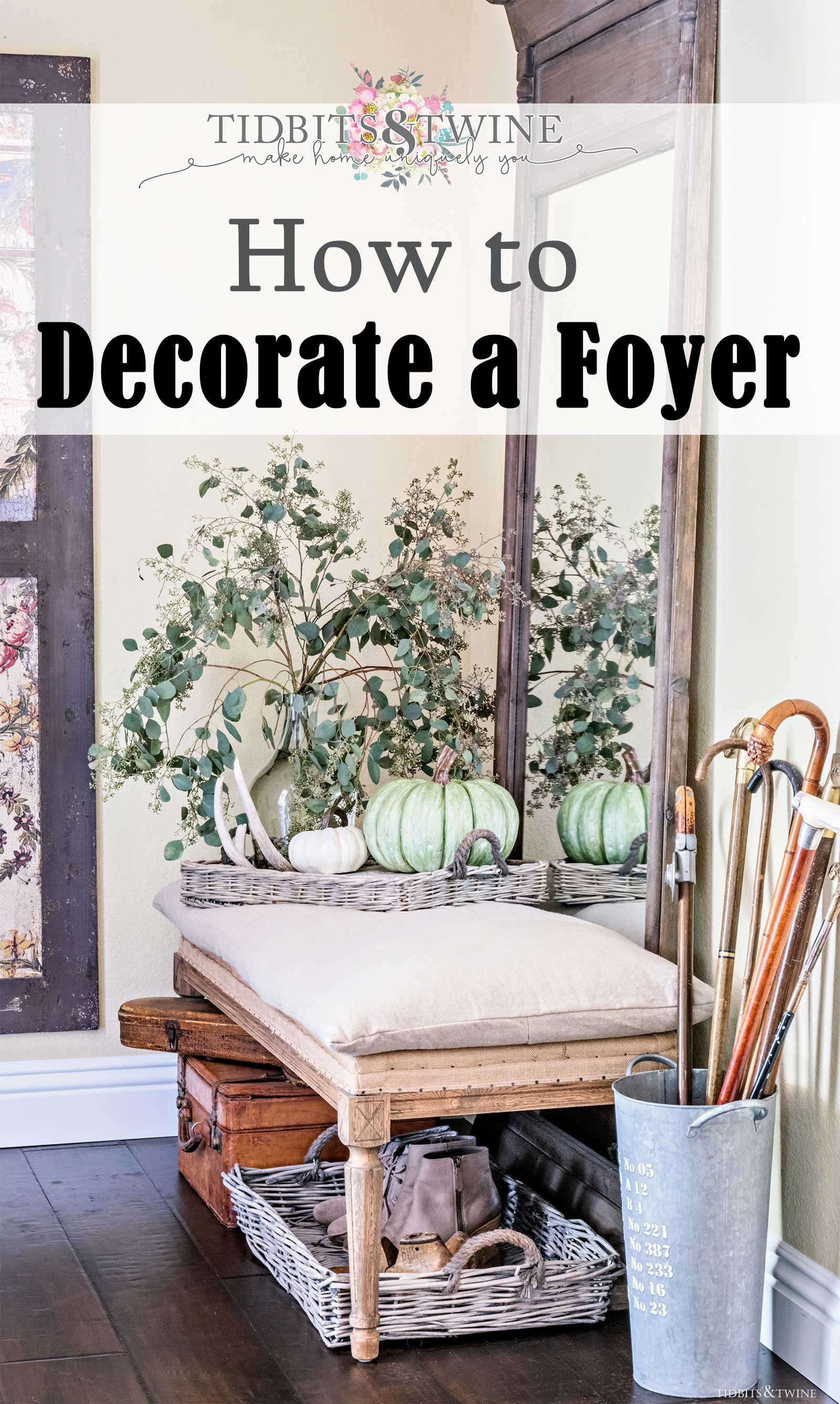 How to Decorate a Foyer. Fall foyer with French bench and mirror