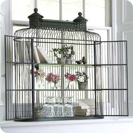 Birdcage as Shelves Decorating with Birdcages   12 Creative Ideas for Everyday Use