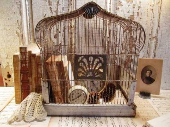Birdcage with Books Decorating with Birdcages   12 Creative Ideas for Everyday Use