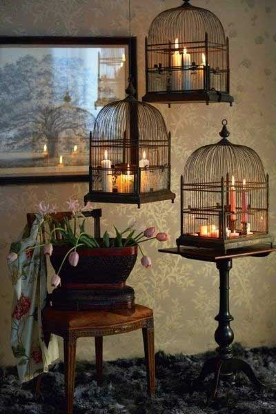 Birdcage with Candles2 Decorating with Birdcages   12 Creative Ideas for Everyday Use