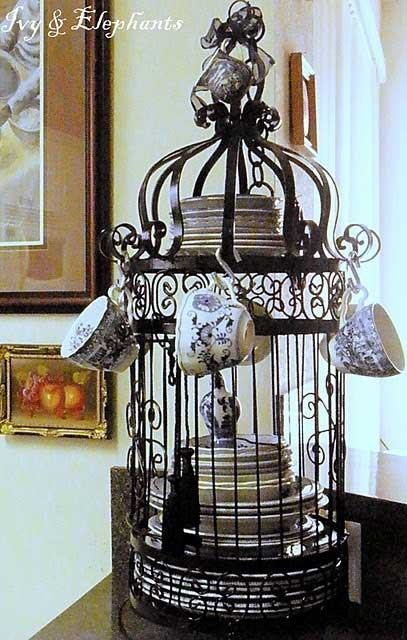 Birdcage with Dishes Decorating with Birdcages   12 Creative Ideas for Everyday Use