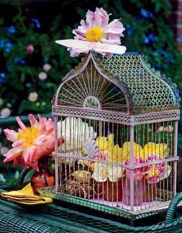 Birdcage with Flowers3 Decorating with Birdcages   12 Creative Ideas for Everyday Use