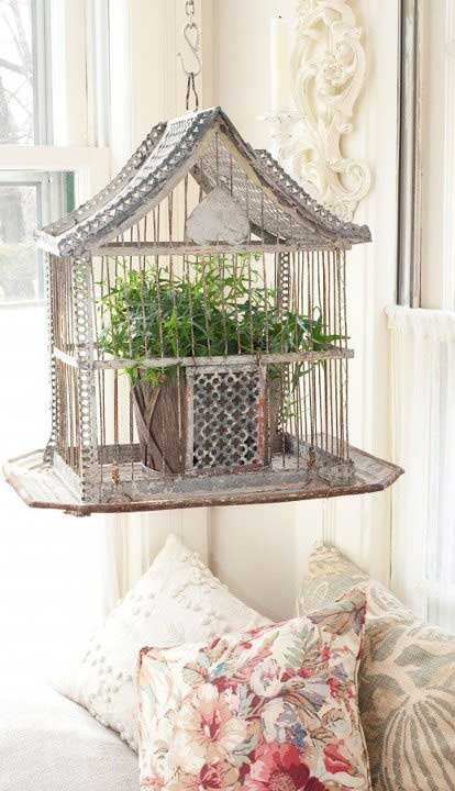 Birdcage with Plant Decorating with Birdcages   12 Creative Ideas for Everyday Use