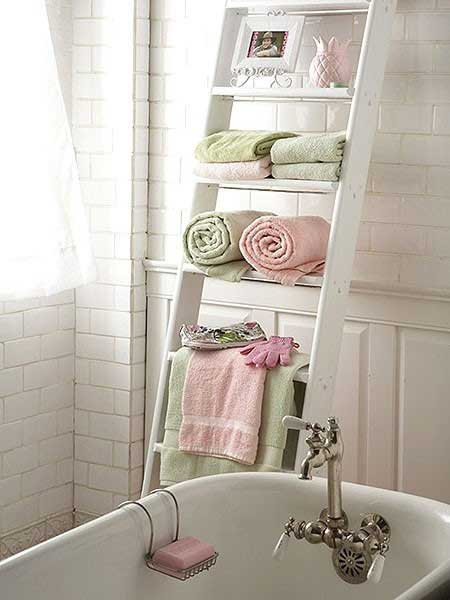Ladder Organizer in Bathroom