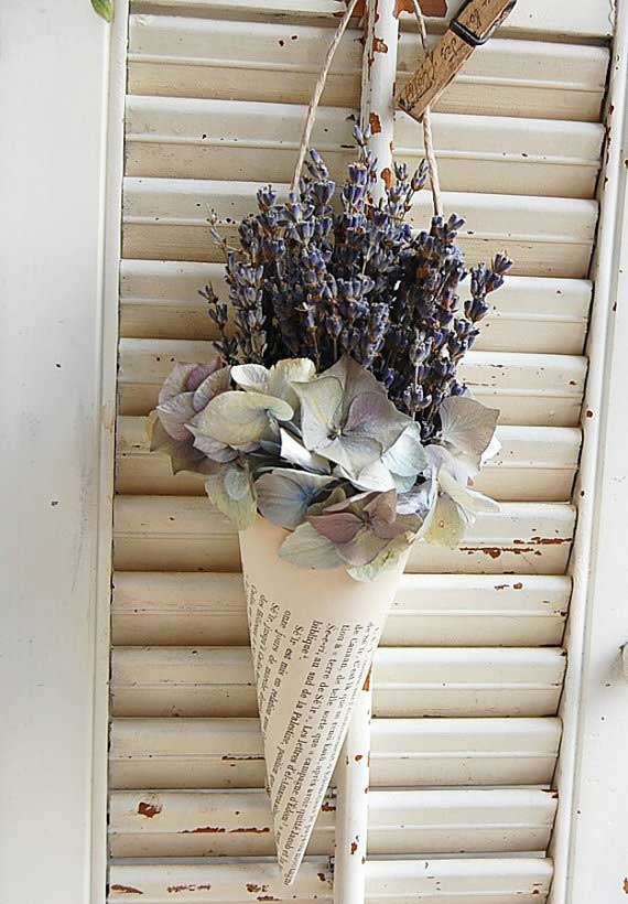 French Book Cone Vintage with Dried French Lavender and Hydrangea