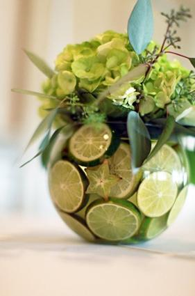Vase filled with lime slices