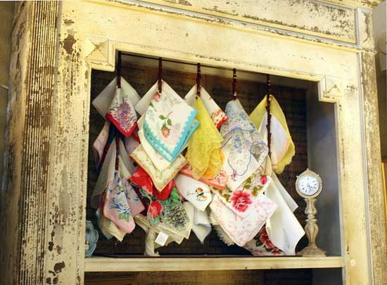 Just in case the grocery store clerk is reading this, here's a great way to display vintage handkerchiefs! By Calsidyrose, via Flickr.