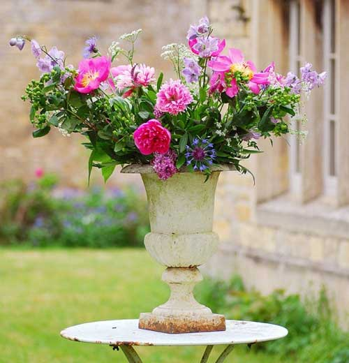 Vintage Urn with Cut Flower Bouquet