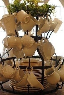 Dish Display on French Bottle Drying Rack
