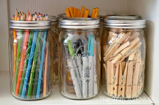 Mason Jar Office Storage