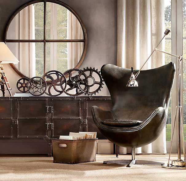 A collection of machinery gears used as a sculptural display. Image: Restoration Hardware