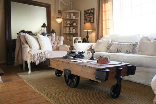 A factory cart used as a coffee table