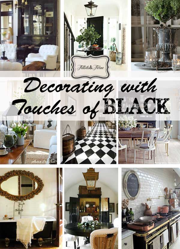 Collages of home images showing how to decorate with the color black