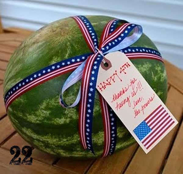 July 4th Watermelon Hostess Gift TidbitsTwine1 25 Patriotic Projects   4th of July Party Roundup