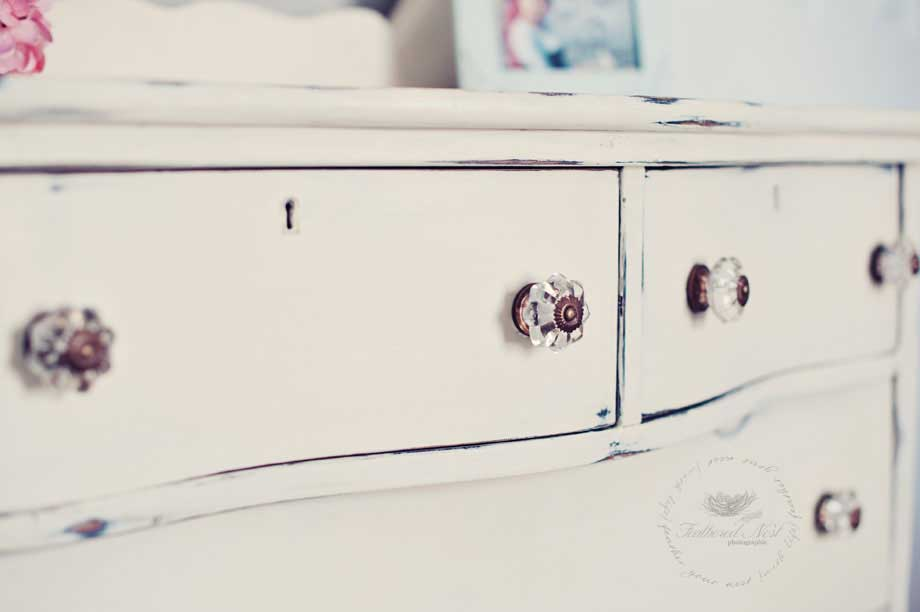 Painted dresser with glass knobs Tidbits&Twine
