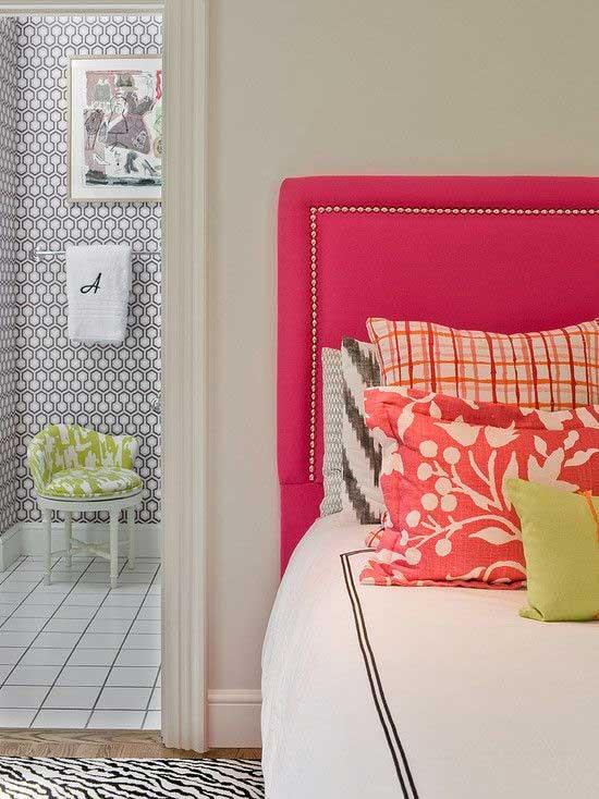 Tidbits&Twine How to Mix Patterns- Pink Headboard with Nailhead Trim