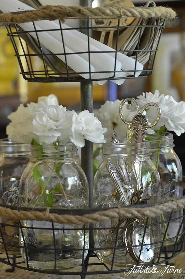 Rose, Mason Jar and Silver Centerpiece 3 Tidbits&Twine