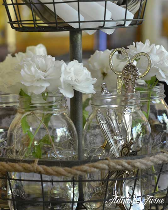 Rose, Mason Jar and Silver Centerpiece 4 Tidbits&Twine