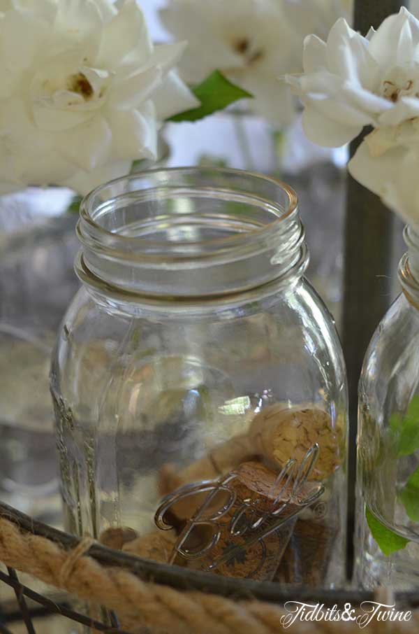 Rose, Mason Jar and Silver Centerpiece 5 Tidbits&Twine