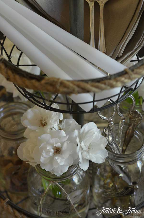 Rose, Mason Jar and Silver Centerpiece Tidbits&Twine