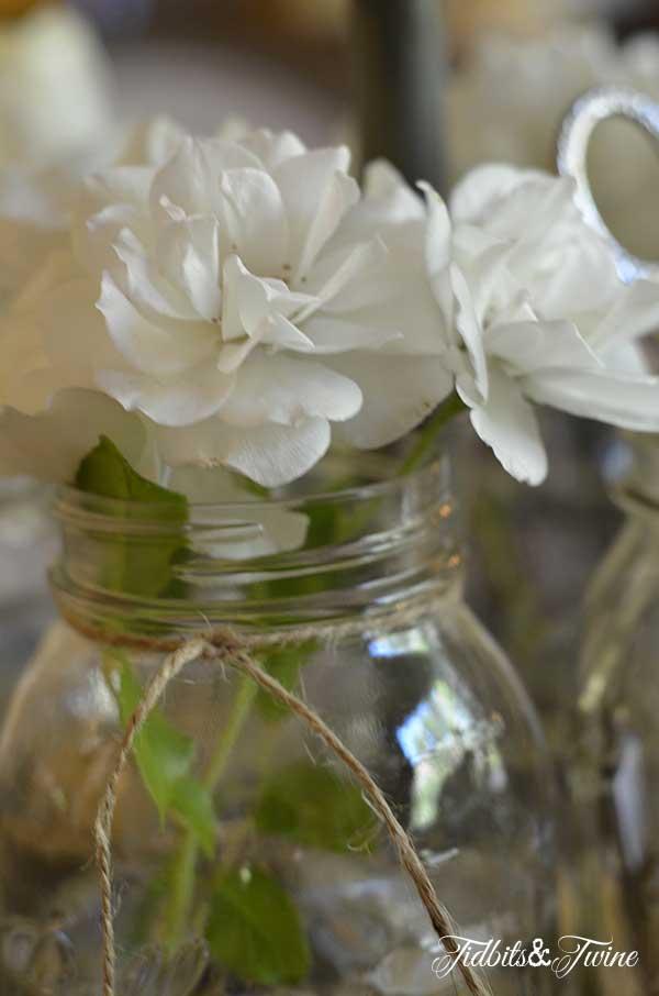Roses in Mason Jar Tidbits&Twine
