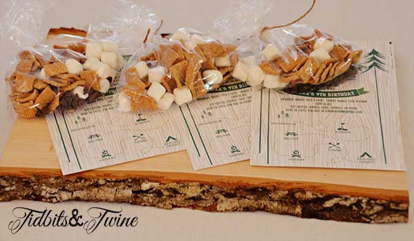 Tidbits Twine Campout Invitation With Smore Bag