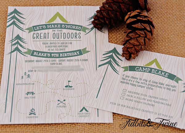Tidbits & Twine Campout Invitation