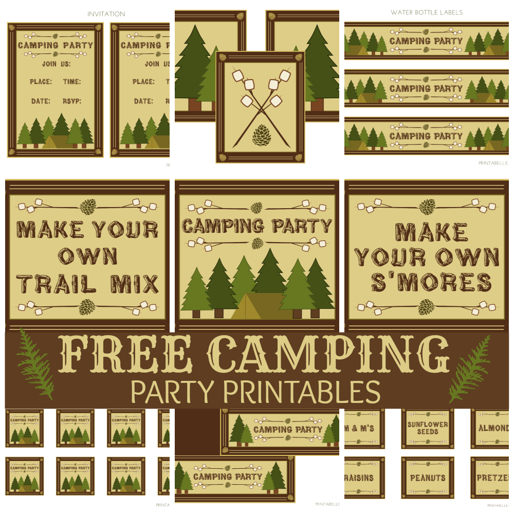 tidbits twine free camping printable - Camping Party Invitations