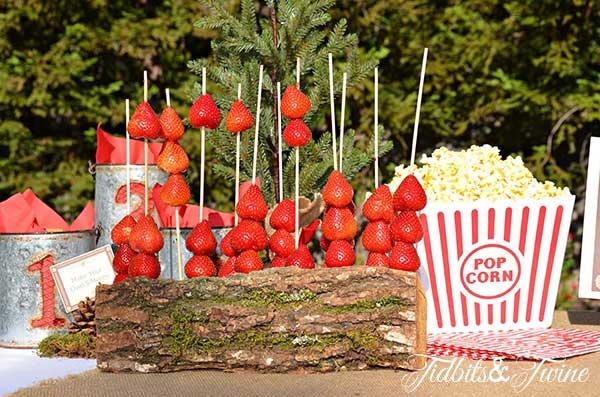 Tidbits & Twine Strawberries on a Log