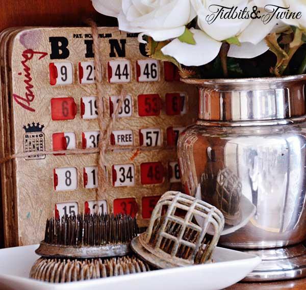 Tidbits&Twine Vintage Flower Frogs and Bingo Card Vignette 1
