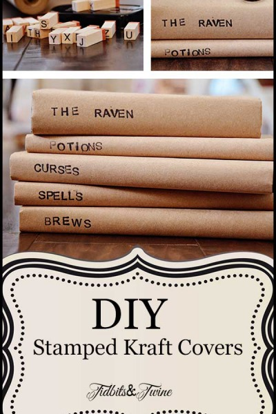 DIY Stamped Kraft Covered Books