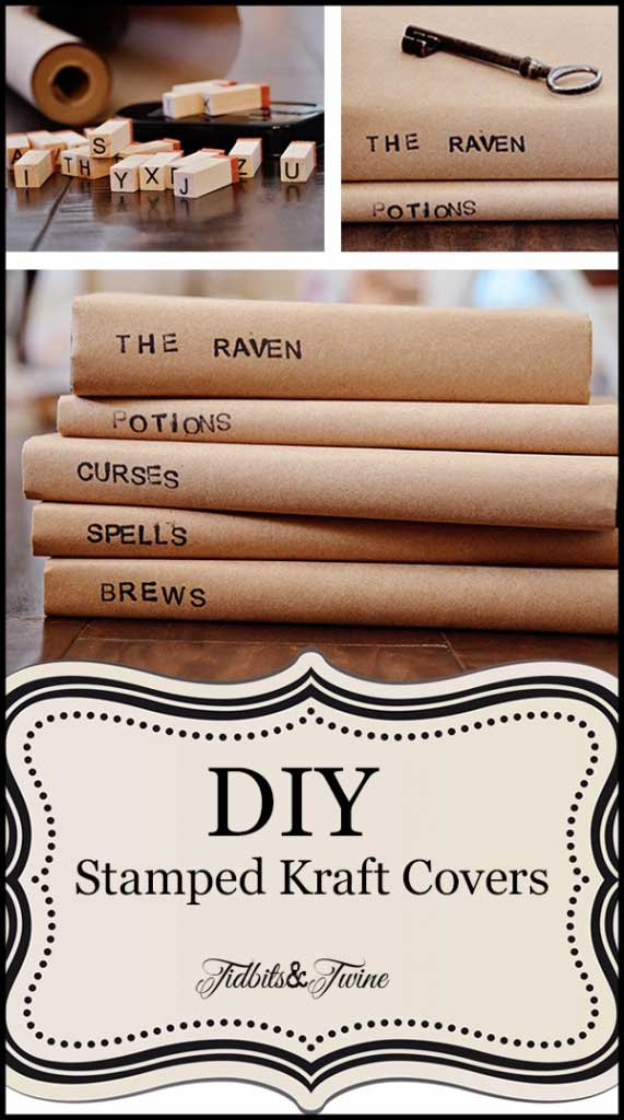 Tidbits&Twine DIY Stamped Kraft Book Covers