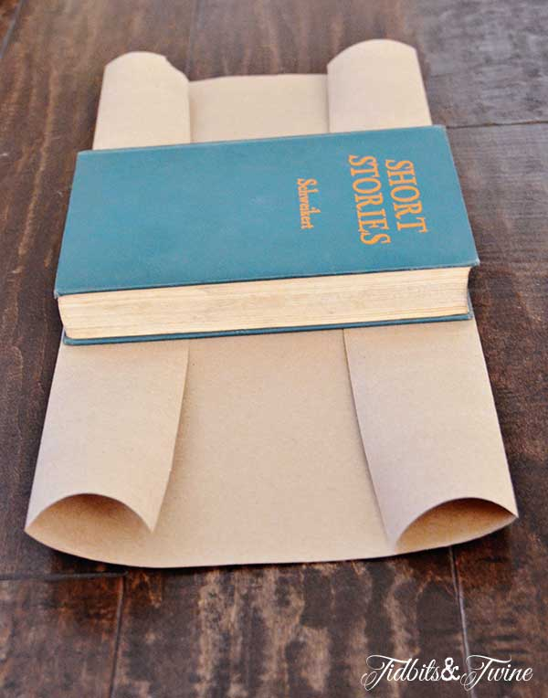 Diy Paper Book Cover : Diy stamped kraft covered books