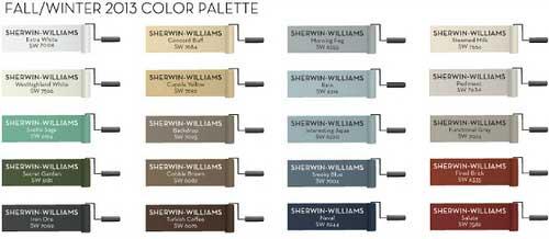 Pottery Barn Sherwin-Williams Fall Winter 2013 Paint Palette
