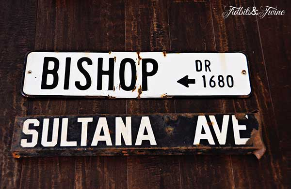 TidbitsTwine Vintage Street Signs TV Gallery Wall Reveal {From Drab to Fab!}
