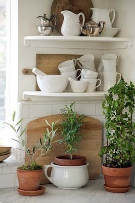 Tidbits&Twine White Ironstone Display with wood and silver