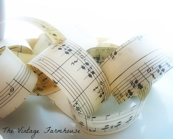 Paper Chain Sheet Music Garland