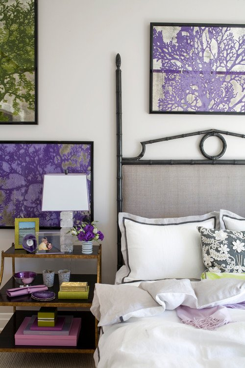 Purple eclectic-bedroom
