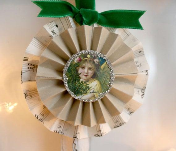 Sheet Music Rosette Ornament The Heirloom Shoppe