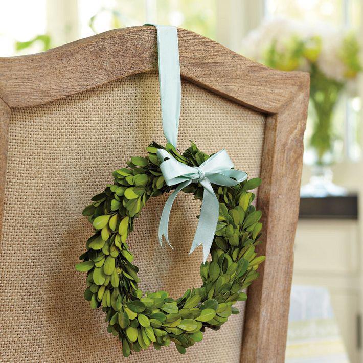 Boxwood Wreath on Chair