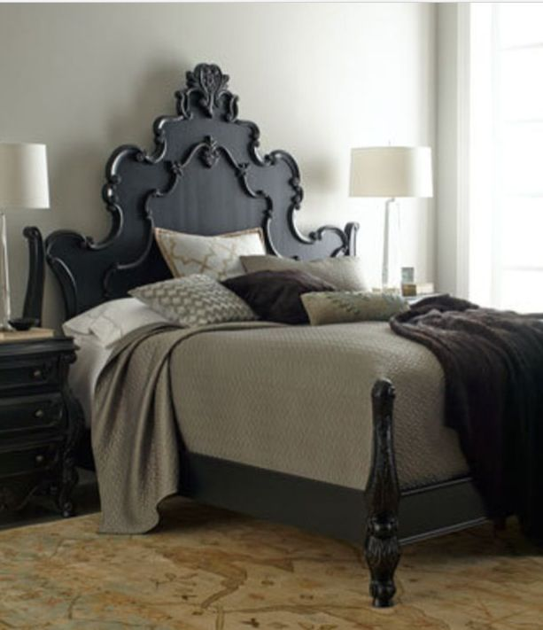 TIDBITS & TWINE - Black carved headboard