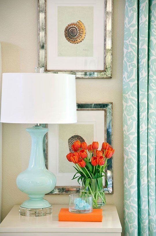 When to decorate above the bed tidbits twine - Turquoise and orange kitchen ...