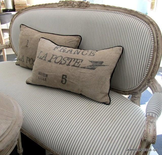 Ticking fabric French sofa