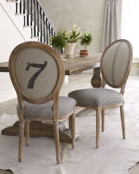 Ticking fabric dining chairs