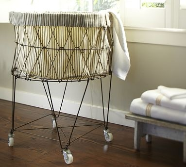 Ticking fabric laundry basket