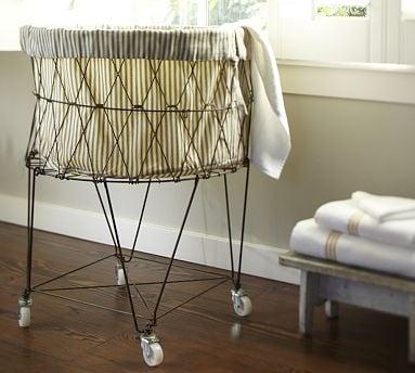 Ticking fabric laundry basket