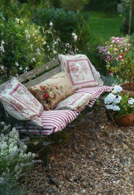 Ticking fabric outdoor cushion