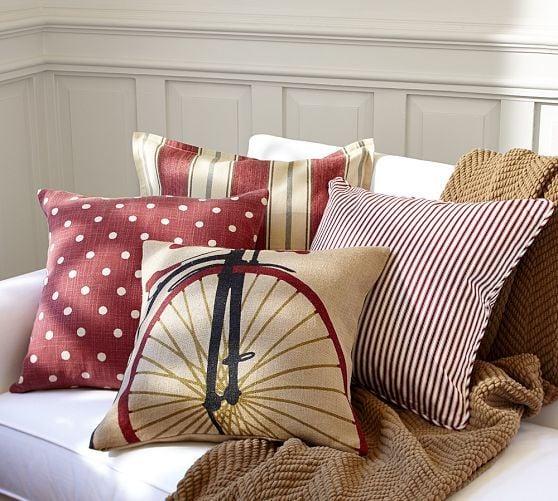 Ticking fabric pillow