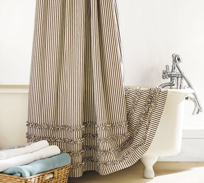 Ticking fabric shower curtain